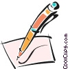pen writing on a piece of paper Vector Clipart illustration
