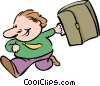 Vector Clipart image  of a man running with a suitcase
