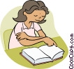 Vector Clip Art image  of a Little girl reading a book