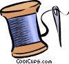 Vector Clip Art picture  of a needle and thread