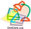 Vector Clipart picture  of a desk lamp with books