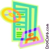 Vector Clipart graphic  of a CPU with floppy disks