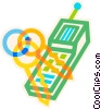 Vector Clip Art graphic  of a keys and cell phone