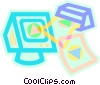 printer and a computer Vector Clipart illustration