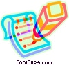 Vector Clipart image  of a note pad and highlighter