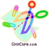 Vector Clip Art image  of a scissors and paper clips