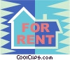 For rent sign Vector Clipart illustration