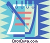 Vector Clipart graphic  of a notepad with a pen