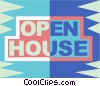 Vector Clip Art graphic  of a Open house sign