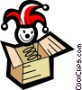 Vector Clip Art graphic  of a jack in the box