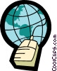 Vector Clip Art image  of a globe with a computer mouse