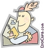 Vector Clipart graphic  of a person writing a letter with a