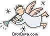 angle blowing a horn Vector Clip Art graphic