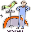 Vector Clip Art graphic  of a man with a parrot on a perch