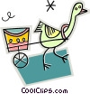 Vector Clip Art picture  of a birds with carts