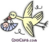 Stork with a baby Vector Clip Art image