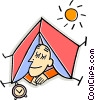 person sleeping in a tent Vector Clipart illustration