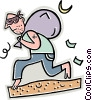 Vector Clip Art picture  of a thief running away with a sack