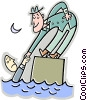 man helping another man out of the water Vector Clip Art image