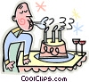 man blowing out candles on a birthday cake Vector Clipart illustration