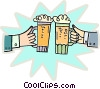 Two people with beer mugs making a toast Vector Clip Art picture