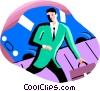 Vector Clipart picture  of a businessman late for a meeting