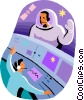 Vector Clipart graphic  of an astronaut in space