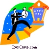 Vector Clip Art image  of a Man making deposit at bank