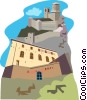 European castles Vector Clipart graphic
