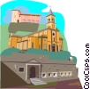Vector Clip Art image  of a European churches