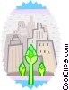 Vector Clip Art graphic  of a Cityscape and flowers