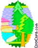 Vector Clipart image  of a trees and books