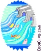 Vector Clip Art graphic  of a fish swimming polluted water