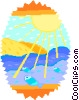 Vector Clip Art picture  of a Fish swimming in the sun