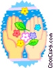 hands holding flowers Vector Clip Art picture