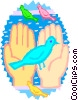 Vector Clip Art graphic  of a hands holding birds