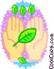 Vector Clipart graphic  of a hands holding leaves