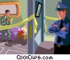 Vector Clip Art graphic  of a detective at the scene of a homicide