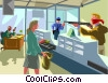 Vector Clipart picture  of an armed robbery of a bank