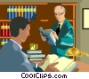 two men reading in the library Vector Clip Art picture