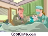 Vector Clip Art picture  of a police officer and coroner at