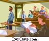 Vector Clipart image  of a courtroom artist sketching