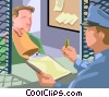 prisoner retrieving his personal items Vector Clipart picture