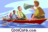 Woman leading a group in a crew boat. Vector Clipart picture