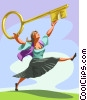 Vector Clipart image  of a Woman with a large key