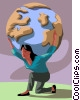 Woman balancing the world on her shoulders Vector Clipart illustration