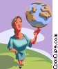 Vector Clip Art image  of a Woman balancing the world on