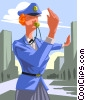 Vector Clip Art image  of a Woman directing traffic