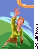 Woman reaching for the brass ring Vector Clip Art graphic