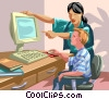 Vector Clipart picture  of a Woman teaching a child to use
